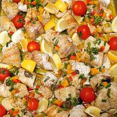 stock photo of cod  - Cod Fish Filets With Herbs Salad Meal - JPG