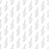 stock photo of treble clef  - Seamless pattern with repeating simple grey colored treble clef isolated on white background - JPG