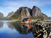 foto of reining  - View of fishing village Reine on the Lofoten Islands in Norway - JPG
