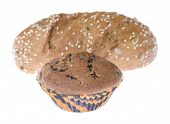 stock photo of baps  - chocolate muffin and loaf isolated on white background - JPG