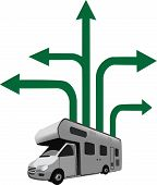 stock photo of camper  - means of transport traveling camper with arrows home - JPG