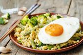 picture of millet  - stir fried millet with broccoli green beans and fried egg - JPG