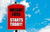 stock photo of start over  - Weight Loss Starts Today motivational quote written on red road sign isolated over clear blue sky background - JPG