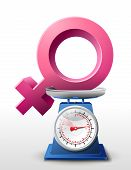 picture of gender  - Weighing woman symbol on scales - JPG