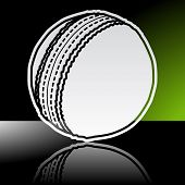 pic of cricket ball  - Graphic icon of cricket ball with reflection - JPG