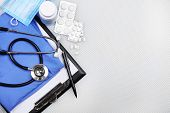 foto of medical supplies  - Medical supplies on blue table close - JPG