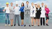 Постер, плакат: people profession qualification employment and success concept happy businessman with group of