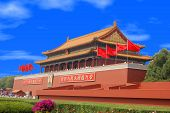 pic of zedong  - the entrance to the beijing forbidden city with a portrait of mao tse - JPG