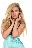 picture of chemise  - Beautiful tall Russian blonde in a teal chemise - JPG