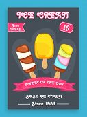 picture of ice cream parlor  - Stylish menu card design for sweet Ice Cream with free toppings offer - JPG