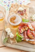 image of smoked ham  - Sandwich with smoked ham grilled peaches and mozzarella - JPG