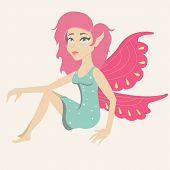 picture of fairy tail  - An illustration of a beautiful  fairy with pink wings - JPG