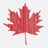 foto of canada maple leaf  - Maple leaf painted on a wooden planks for your design - JPG