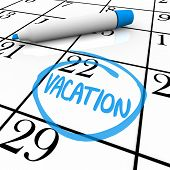 stock photo of sabbatical  - A vacation day is circled on a white calendar with a blue marker - JPG