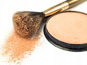 foto of face-powder  - Face powder make up isolated on white background - JPG