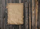 Empty Wanted Poster On Weathered Plank Wood Wall poster