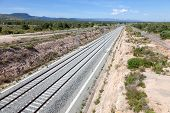 stock photo of train track  - New railway track for high speed trains in southern Spain - JPG