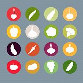 ������, ������: Vegetables silhouette icons Set Vector illustration Carrots and potatoes beets and radishes cabb