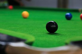 foto of snooker  - snooker balls on green snooker table sport game background - JPG