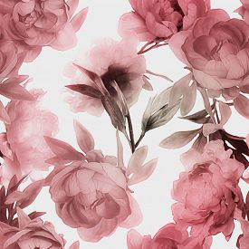 stock photo of garden-art  - art vintage monochrome watercolor blurred and graphic floral seamless pattern with red peonies isolated on white background - JPG