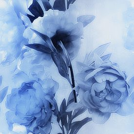 picture of garden-art  - art vintage monochrome watercolor blurred floral seamless pattern with blue peonies on light blue background - JPG