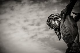 foto of calvary  - Dramatic artistic depiction of crucified Jesus Christ - JPG