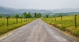 stock photo of smoky mountain  - Dirt road leads to a Smoky Mountain horizon shrouded in fog - JPG