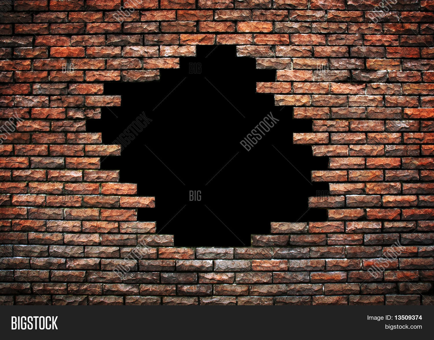 Large Hole On Brick Wall Image & Photo | Bigstock