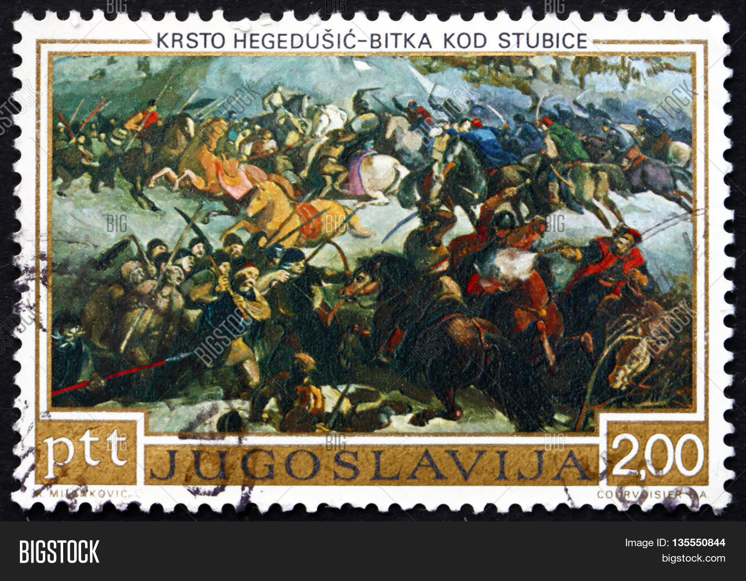 YUGOSLAVIA - CIRCA 1973: a stamp printed in the Yugoslavia shows Battle of Stubica Painting