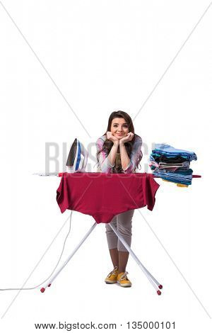 Woman ironing clothing isolated on white