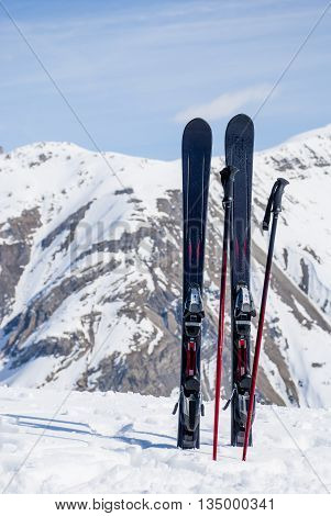 Europe Italy Alps. Mountain skiing at top of the Italian Alps. A respite before descent