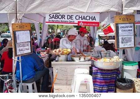 CUSCO PERU - MARCH 08 2015: A food seller woman at market in Cuzco Peru