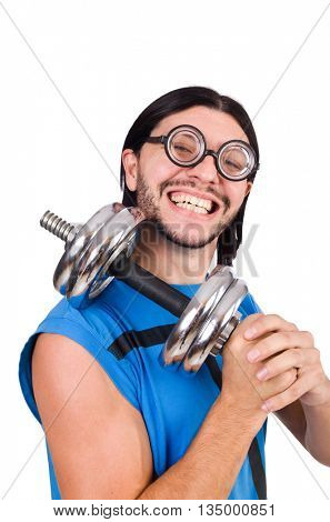 Funny guy with dumbbels on white