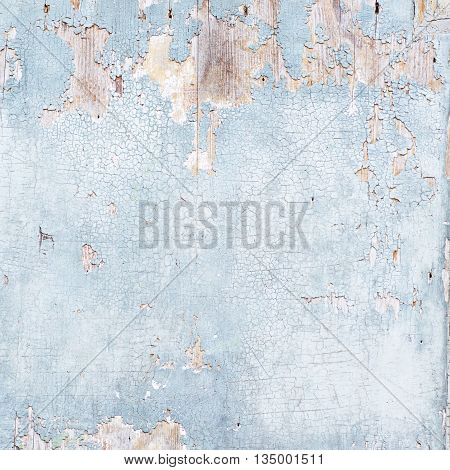 Close-up fragment of an old painted wooden wall as a background texture composition