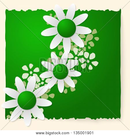 Green slip of paper and white flowers