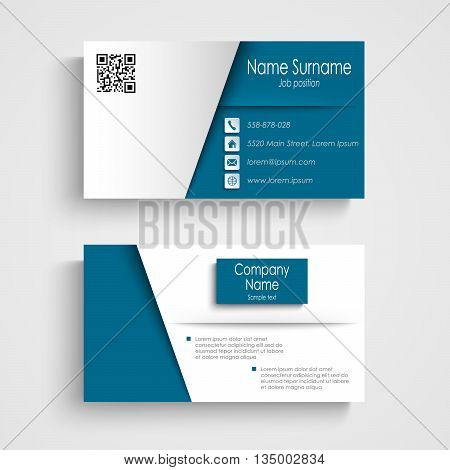 Business card with blue white effect design template vector eps 10