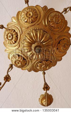 Chandelier antique detail art decoration floral pattern.