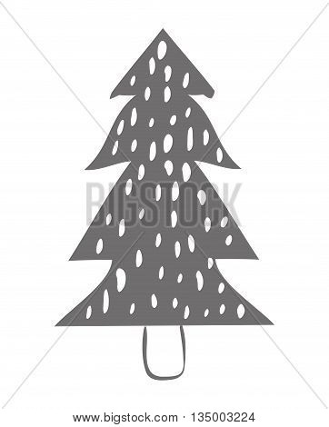 Winter concept represented by grey pine tree icon over flat and isolated background