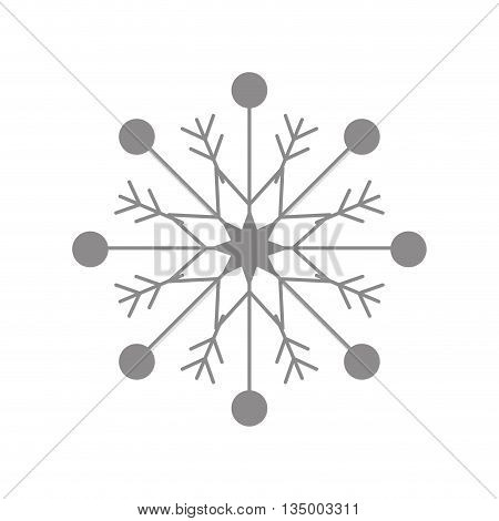 Winter concept represented by grey snowflake icon over flat and isolated background