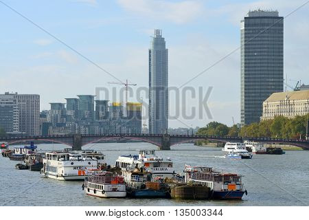 LONDON - OCTOBER 04: View of River Thames on October 04 2014 in London UK. London is one of the world's leading tourism destinations