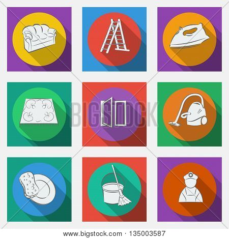 Fashionable flat icons with long shadows cleaning theme. Vector illustration.