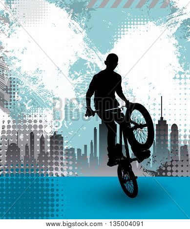 Extreme sport, illustration of bmx rider