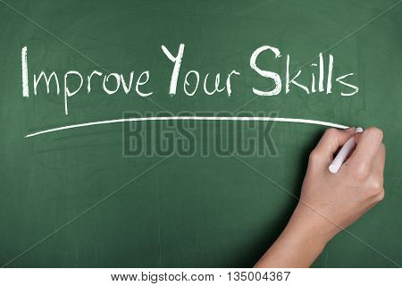 Hand writing improve your skills on chalkboard