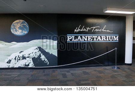 JOLIET, ILLINOIS / UNITED STATES - OCTOBER 25, 2015: The Herbert Trackman Planetarium offers astronomical instruction and entertainment at Joliet Junior College.