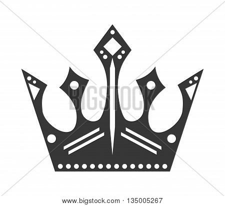 Royalty concept represented by Crown with diamonds icon over flat and isolated background