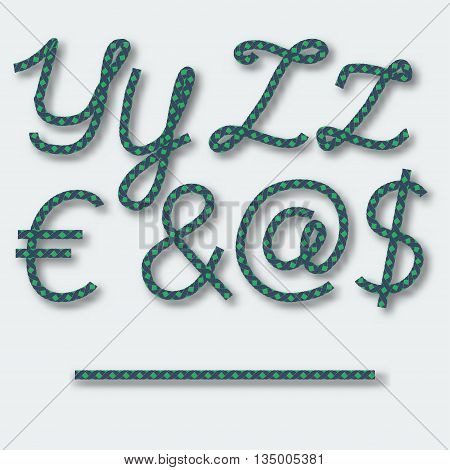Letters Y Z and symbols dollar dogbody at Euro ampersand handwritten alphabet of rope. Vector illustration.