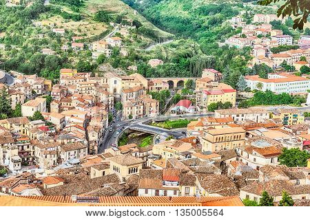 Panoramic View Over The City Of Cosenza And The Crathis River, Italy