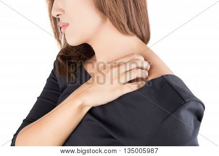 Woman scratching herself isolate On white background