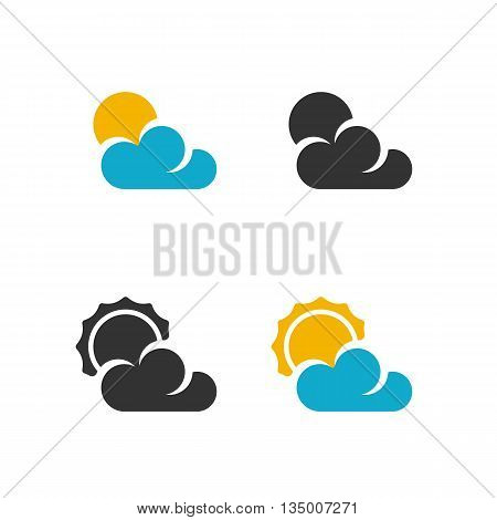 Weather icon on white background. Weather vector logo. Flat design style. Modern vector pictogram for web graphics. - stock vector