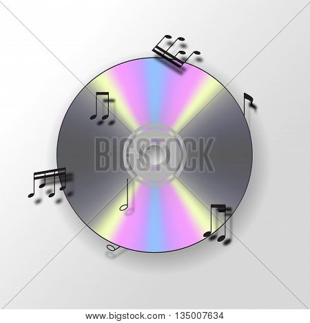 CD background vector with musical notes flying around